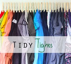 Tights Organizer | 23 Adorable DIYs You Can Make With Clothespins...I could use this for my scarves.
