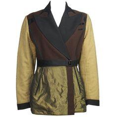 Preowned 1980s Jean Paul Gaultier Satin, Metallic & Wool Blazer ($877) ❤ liked on Polyvore featuring outerwear, jackets, blazers, black, satin blazer, short-sleeve blazers, wool jacket, wool blazer and satin blazer jacket
