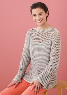 Diagonal Mesh Pullover in Lion Brand Cotton-Ease - Discover more Patterns by Lion Brand at LoveCrafts. From knitting & crochet yarn and patterns to embroidery & cross stitch supplies! Shop all the craft materials you need to start your next project. Knitting Patterns Free, Knit Patterns, Free Knitting, Free Pattern, Summer Knitting, Lion Brand Yarn, Crochet Yarn, Crochet Clothes, Pulls