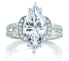 Split Shank Exclusive Statement Marquise Engagement Ring #marquise #pavé #statement