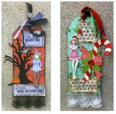 Holiday tags done with Julie Netting Doll stamps, cute:)