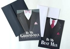 Will You Be My Best Man?, Will you Be My Groomsman?   Wedding Attendee, Invitation Flat Cards and Envelopes   Custom Wording and Colors #willyoubemybestman #willyoubemygroomsman