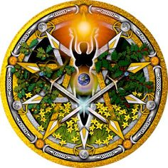 A gold and silver pagan pentacle celebrating the summer solstice sabbat of Litha. The fertile goddess between oak and holly leaves accented with celtic knotwork.
