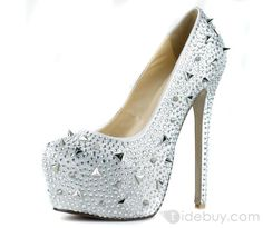 Fashion Silver Leather Upper Stiletto Heels Closed Toe Prom/ Evening Shoes