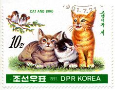 North Korea 1991 Cat Stamps - Cat and Bird