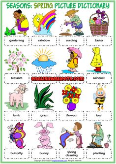 Spring ESL Printable Picture Dictionary Worksheet For Kids