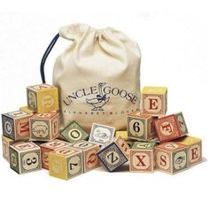 Shop Classic Alphabet Blocks with Canvas Bag by Uncle Goose at Oompa Toys, the most trusted online source for top quality specialty toys.