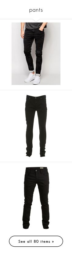 """""""pants"""" by valentinsitems ❤ liked on Polyvore featuring men's fashion, men's clothing, men's jeans, black, replay mens jeans, mens super skinny jeans, mens dark wash jeans, mens skinny jeans, mens skinny fit jeans and jeans"""
