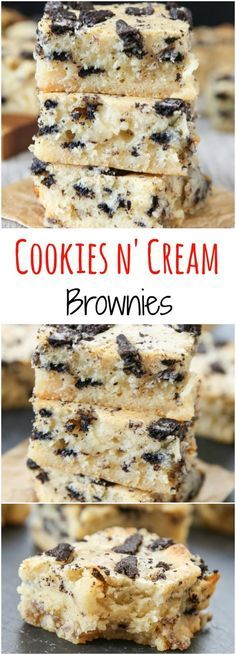 and Cream Brownies Cookies and Cream Brownies. These brownies are ultra fudgy and made with just one bowl and a spatula.Cookies and Cream Brownies. These brownies are ultra fudgy and made with just one bowl and a spatula. 13 Desserts, Health Desserts, Delicious Desserts, Yummy Food, Baking Desserts, Health Foods, Tailgate Desserts, Delicious Cookies, Plated Desserts