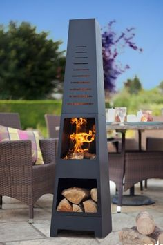 Modern Steel Chimenea with Log Store Chiminea Patio Heater & Cut Out Fire Pit Outdoor Fire, Outdoor Living, Outdoor Decor, Chimnea Outdoor, Metal Fire Pit, Fire Pits, Log Store, Chiminea, Patio Heater