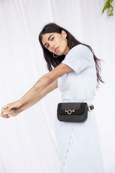 Pinatex Fanny Pack - HFS Collective (photo by Kristine Lo) Womens Fashion Online, Latest Fashion For Women, Trendy Outfits, Cute Outfits, Waist Purse, Trendy Swimwear, Street Snap, Medium Bags, Mini Bag