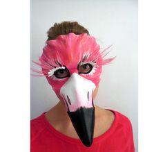 Flamingo Mask - Feather - Leather - Masquerade - Costume - Halloween - Animal Mask - Bird - Flamingo Costume - Women's Halloween Costume