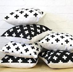 Swiss Cross Cushion Cover | Black with White