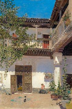 """""""Patio de la casa de Samuel Leví, Toledo"""", Martín Rico.  1893. Óleo sobre tabla, 35 x 24 cm.  Colección particular."""