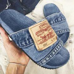 Best Casual Shoes, Denim Slides, Denim Flats, Peep Toe, Open Toe Flats, T Strap Flats, Slipper Sandals, Sandals For Sale, Summer Sandals