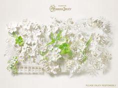Une belle collaboration avec ces fresques de papier créées pour Perrier-Jouët par Jo Lynn Alcorn. Une multitude de fleurs épanouies par cette artiste américaine travaillé à partir d'un unique matériau : le papier. Un découpage et un assemblage afin de récréer l'univers de la marque.