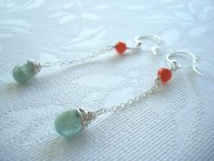 Earrings Sterling Silver with Coral and Aquamarine Stones by SonseraeDesigns on Etsy, $22.00