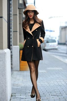 Splendid Korean Style Slim Turndown Collar Double-breasted Woolen Trench Coat