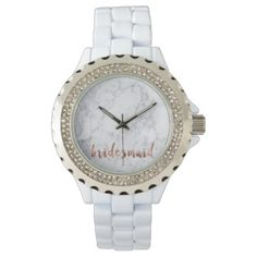 elegant faux rose gold white marble bridesmaid wristwatch