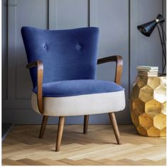 Calvin armchair in blue velvet and linen by Atkin & Thyme | 10 Best Armchairs - Mad About The House