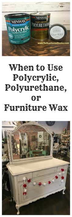 When is the best time to use Polycrylic, Polyurethane or Furniture Wax on your DIY Project whether it's painted furniture, a DIY project / craft or something you've built. We give you the Pros and Cons of using each product to seal your piece. Furniture Wax, Chalk Paint Furniture, Handmade Furniture, Repurposed Furniture, Furniture Projects, Furniture Makeover, Vintage Furniture, Mahogany Furniture, Furniture Stores