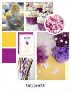 Mini cupcakes and purple popcorn make for the perfect birthday party. Unique Invitations, 4th Birthday Parties, Custom Cards, Mini Cupcakes, Birthday Party Invitations, Event Planning, Sprinkles, Birthdays, Stationery