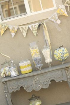 Cute grey and yellow wedding! Such a fun candy buffet!