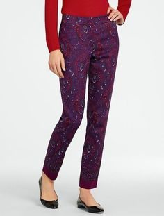 NEW $129 TALBOTS Signature BurgundyRed Paisley CottonSilk Ankle Pants Sz 14