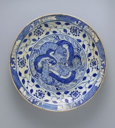 Dish with Two Intertwined Dragons. Iran, c.1640. Met Museum, NYC.