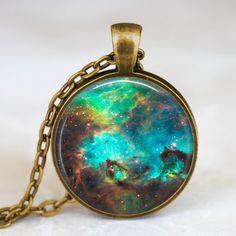 Nebula pendant  , Nebula necklace, Nebula jewelry, galaxy space necklace turquoise with gift box