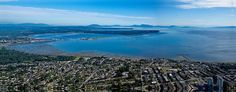 Gorgeous Aerial Photo - OCEAN VIEWS from an aerial panorama of White Rock & Russell St looking south. US boarder, and Semiahmoo Resort and Blaine in the background. Gorgeous view of the San Juan Islands. San Juan Islands, Ocean Views, Boarders, Aerial Photography, Vancouver, Mountains, Rock, Gallery, Travel