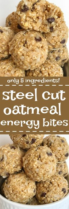 Steel cut oatmeal energy bites are an easy 5 ingredient healthy treat to make. Satisfy that late afternoon hunger with these simple & delicious no bake energy bites made with wholesome steel cut oats coconut honey peanut butter and chocolate chips. Protein Snacks, Protein Bites, Energy Snacks, High Protein, Oatmeal Energy Bites, No Bake Energy Bites, Energy Balls, Oatmeal Bars Healthy, Oatmeal Yogurt