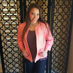 PINK AND WHITE SHIRT JACKET WITH POCKETS Brand new.  The color is a coral pink. 36 in. bust, 20 in. sleeve measurement. This Large would fit up to a size 10-12 with a 36 inch bust. Bcnu Jackets & Coats Blazers