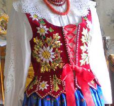 Polish embroidery: region of Podhale Polish Embroidery, Folk Embroidery, Beaded Embroidery, Mori Girl Fashion, Folk Fashion, Ethnic Outfits, Ethnic Dress, Art Costume, Folk Costume