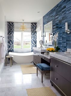 Traditional Master Bathroom with Complex Marble, complex marble tile floors, Stone Tile, European Cabinets, Pendant Light