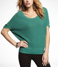 express.  metallic sweater. In bright jade, celestial blue and/or dark raspberry. Small $49.90