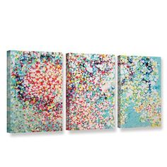"""Latitude Run Trimmed 3 Piece Painting Print on Wrapped Canvas Set Size: 36"""" H x 72"""" W"""