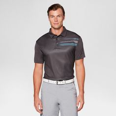 Men's Printed Golf Polo - Jack Nicklaus Asphalt L, Gray
