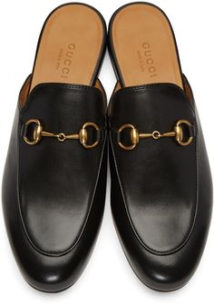 2616f1e2529 Buffed leather slip-on loafers in black. Round toe. Signature horsebit  hardware at