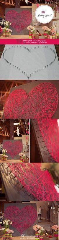 Maak je eigen hart met spijkers en wol. Uiteraard kan dit ook heel groot voor jullie bruiloft.   www.be-flowerd.nl