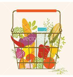 Shopping basket vector. Farmer's market by fireflamenco on VectorStock®
