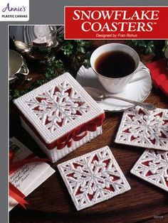 "Bring the beauty of a fresh-fallen snow inside with these pretty snowflake coasters. Each design is stitched on 7-count plastic canvas using worsted-weight and metallic yarn. Size: Coaster – 3 7/8"" square; Box – 2 3/4"" x 4 1/2"" x 4 1/2..."