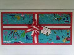 Los niños son un regalo de Dios. Pizarra para Navidad 2014. Pintado por los niños. PK-B 2014.