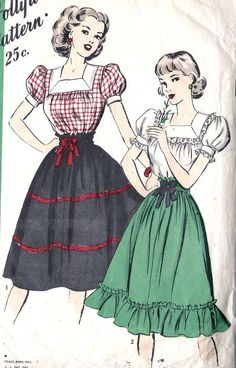 Terrifically cute Misses Farm Girl, Peasant Skirt and Blouse Vintage Sewing Pattern, Hollywood Pattern Vintage Dress Patterns, Blouse Vintage, Clothing Patterns, Vintage Dresses, Vintage Hats, 1940s Fashion, Diy Fashion, Vintage Fashion, Fashion Design