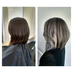 From long (past her shoulders) to a Lob to Silver Ombre! Cut & Color by Glad | Yelp