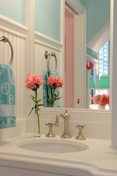 Shabby Chic style bathroom ~ use some unusual color combos for a sweet, fresh look!