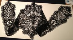 Swedish floral guipure, cap and lappets, prob late 19th c