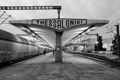 Train station in Thessaloniki, second largest city in Greece. Greece Photography, History Of Photography, Greece Tours, By Train, World Heritage Sites, Athens, Places To See, Around The Worlds, Black And White