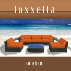 Luxxella Outdoor Patio Couch Wicker Furniture 6pc All Weather Sofa Bella 6 Set ORANGE