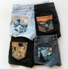 Hand Painted Denim Shorts by Alba González on. Painted Jeans, Painted Clothes, Painted Shorts, Denim Paint, Painting On Denim, Hand Painted Shoes, Fabric Painting, Diy Fashion, Clothes Crafts